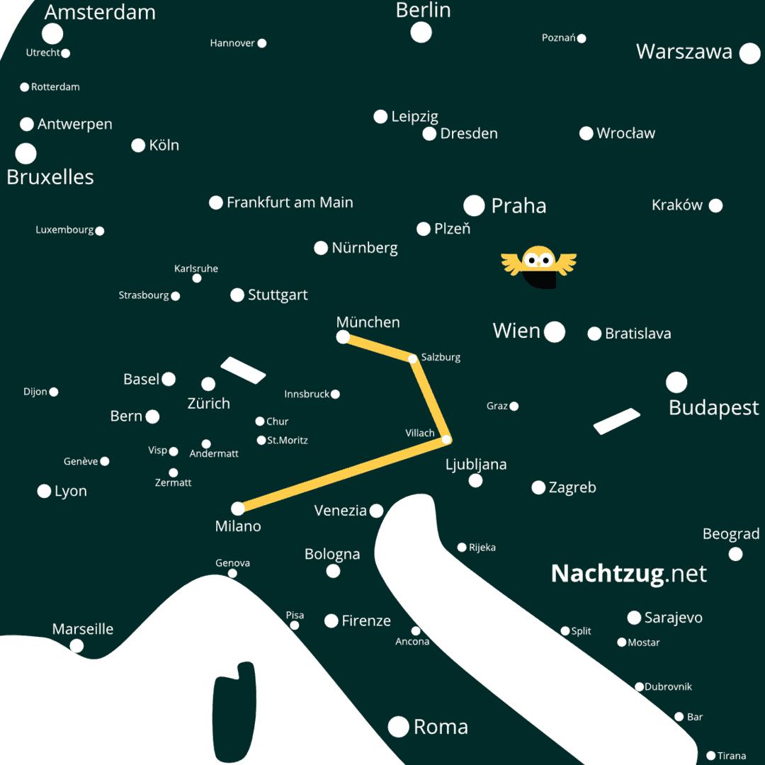 Nachtzug München-Mailand
